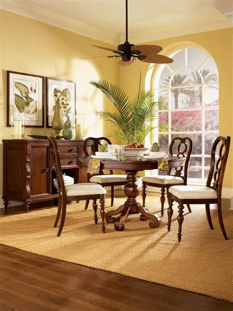 yellow dining room  tropical accents yellow dining