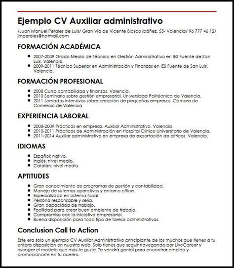 Modelo De Curriculum Vitae De Un Administrativo Ejemplo Cv Auxiliar Administrativo Principiante Micvideal