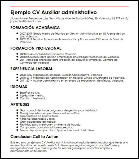 Modelo Carta De Presentacion Curriculum Administrativo Ejemplo Cv Auxiliar Administrativo Principiante Micvideal
