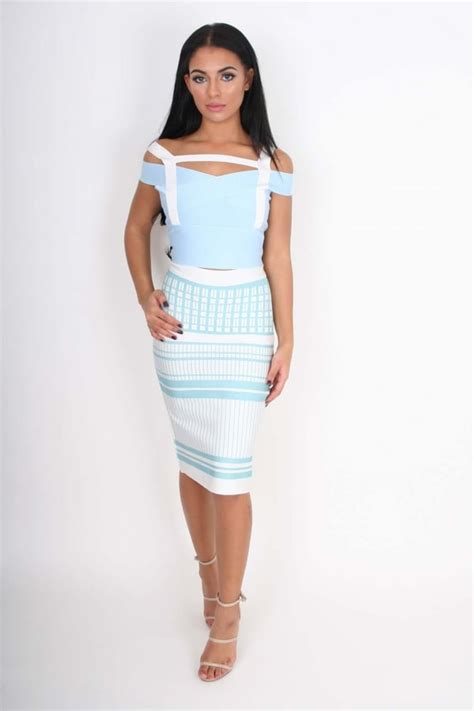 ally baby blue white patterened crop top skirt bandage