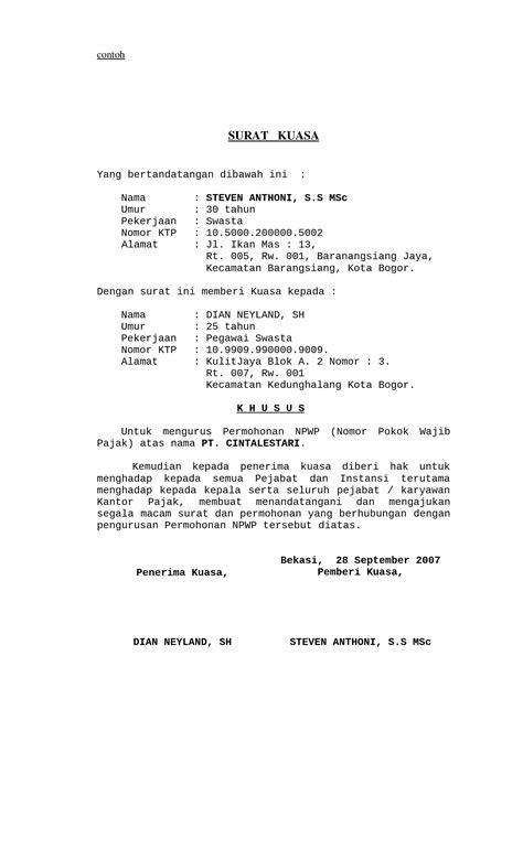 contoh surat kuasa lengkap untuk berbagai keperluan