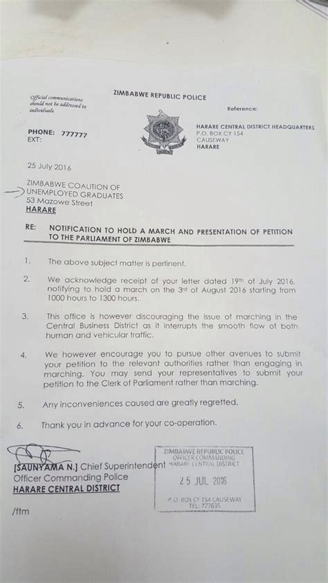 Permission Denied Letter Unemployed Graduates Denied Permission To March Bulawayo24 News