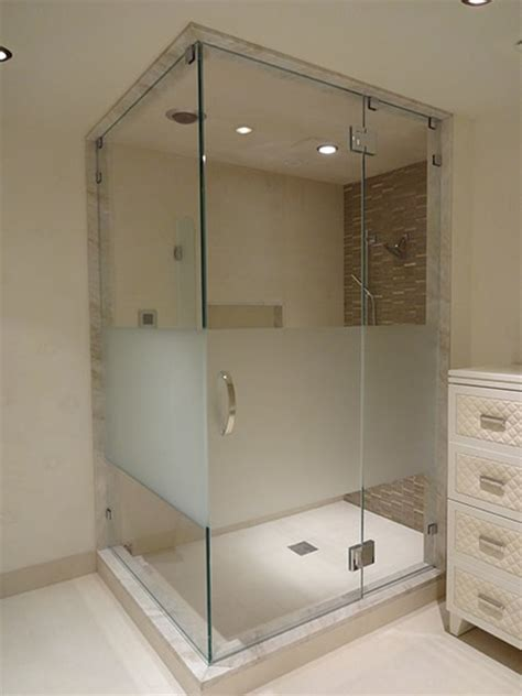 Corner Enclosure Etched Sandblasted Shower Doors Sandblasted Glass Shower Doors