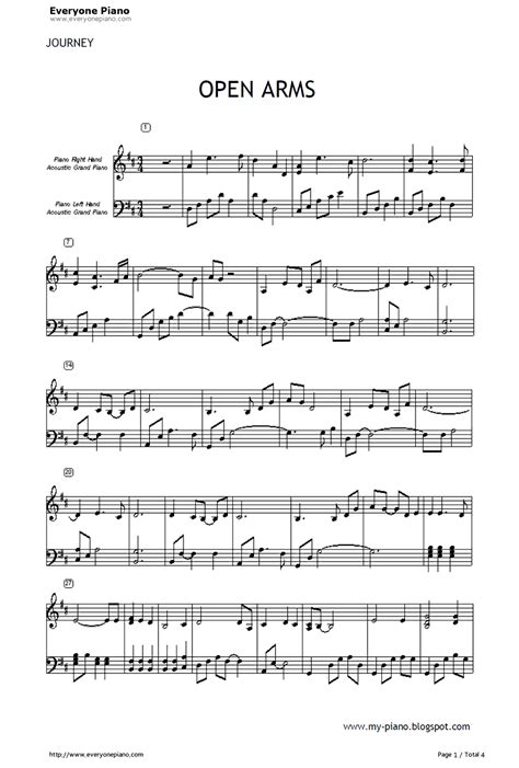tutorial piano open arms open arms journey stave preview 1 free piano sheet music