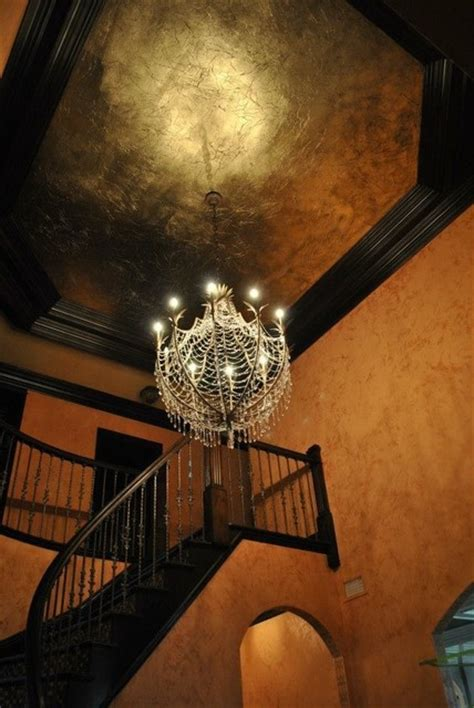 Gold Leaf Ceiling Paint by Gold Leaf Tray Ceiling Traditional Staircase New