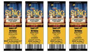 Sing movie ticket invitation print at home personalized digital