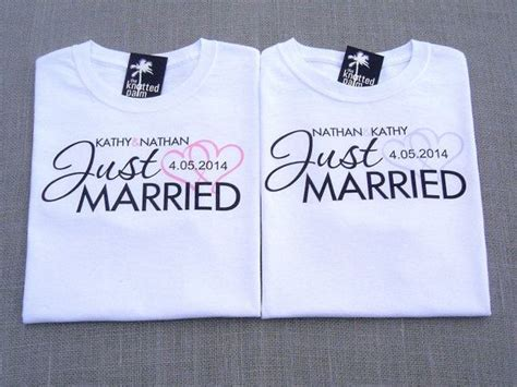 Married Shirt Design Groom Just Married Hearts Personalized Wedding T