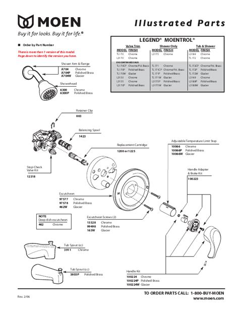 Moen Shower Faucet Parts by Pdf Preview Moen Tubshower Parts Manual For Moen Legend