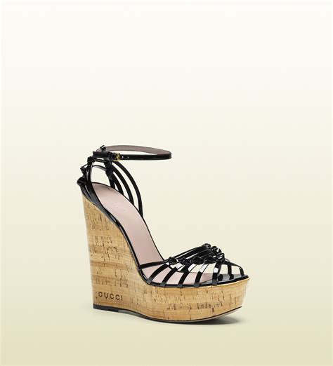 Sandal Gucci 386 111a 1 gucci patent leather high heel wedge sandal in black