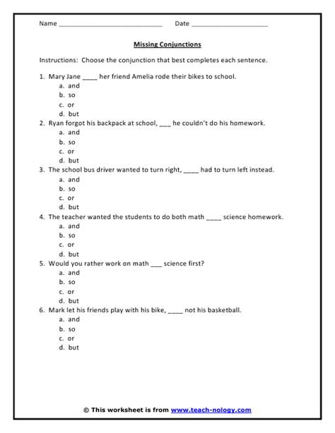 Conjunction Worksheets by Conjunction Worksheets For Grade 3 Pdf Teaching