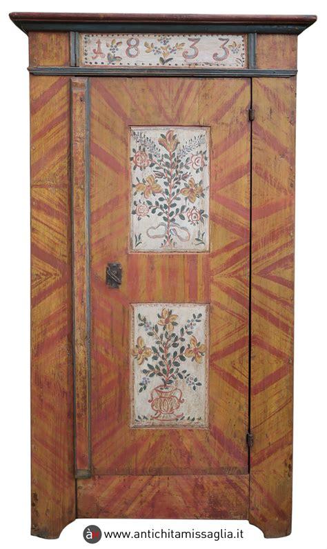 armadi tirolesi dipinti armadio tirolese dipinto datato 1833 antichit 224 missaglia