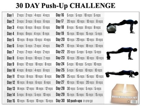 30 day workout plan for men at home 30 day push up challenge fitness chest core sixpack