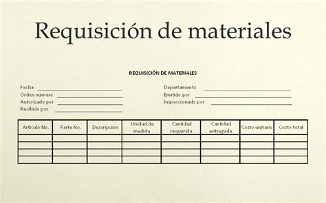 formato de requisici 211 n de materias primas youtube requisicion de materiales costos por ordenes 75 reporte