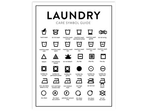 Laundry Care Chart Printable Letter Size Instant Download Wash Care Label Template