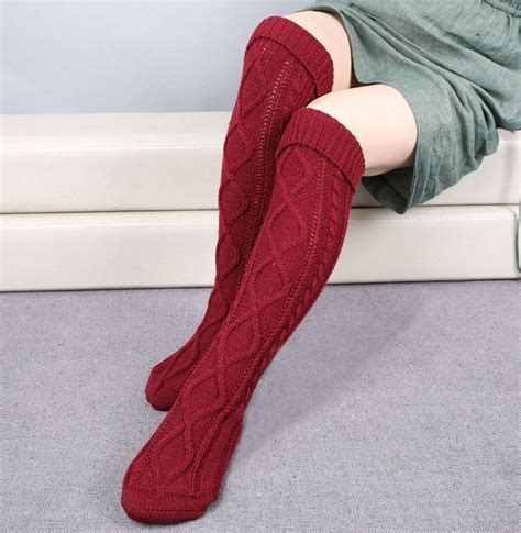 knitted thigh high socks new winter fashion knitted thigh high