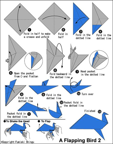 Make Origami Bird - how to make a flapping bird origami origami tutorial