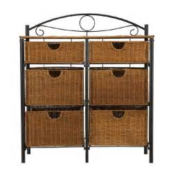 6 drawer iron wicker bakers rack storage basket stand