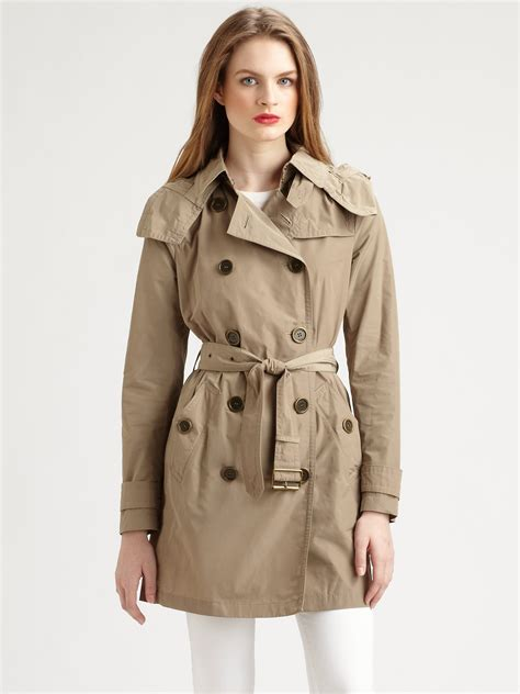 Hooded Trench Jacket burberry brit lightweight hooded trench jacket in beige lyst