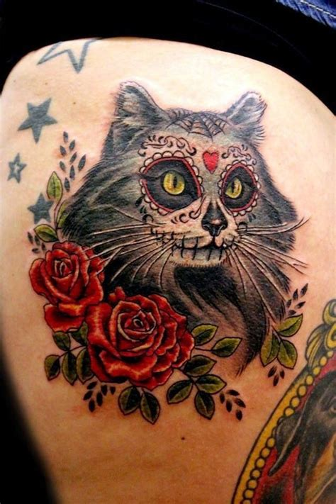 cat skeleton tattoo mesmerizing mexican sugar skull collection