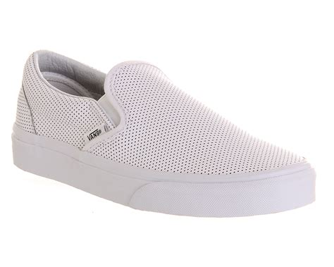 mens vans vans classic slip on white perf leather trainers