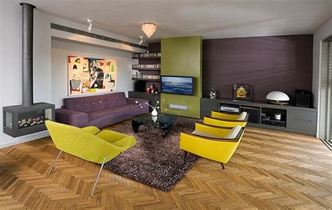 green and purple living room yellow green and purple modern living room with fireplace