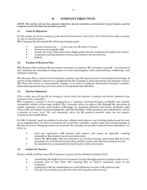 liquor store business plan template liquor store business plan forms and business