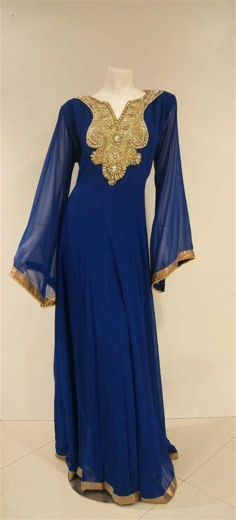Dh 6592 Kaftan Blue new design 2015 middle east evening dresses formal royal blue dubai dresses with gold