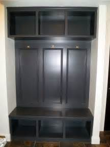 J K Cabinets Dark Stained Built In Mud Room Bench