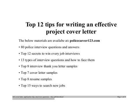 Writing An Effective Cover Letter by Top 12 Tips For Writing An Effective Project Cover Letter