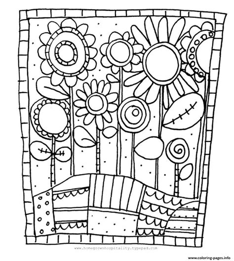 coloring pages print adult simple flowers coloring