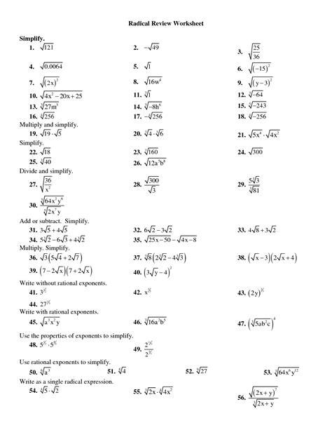 Multiplying Radicals Worksheet by Simplifying Radicals Worksheet Evaluate Algebraic