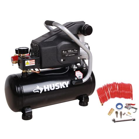 husky 4 gal portable electric powered air compressor bs1004w the home depot