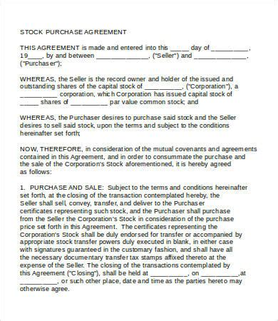 stock purchase agreement template purchase agreement 15 free word pdf documents