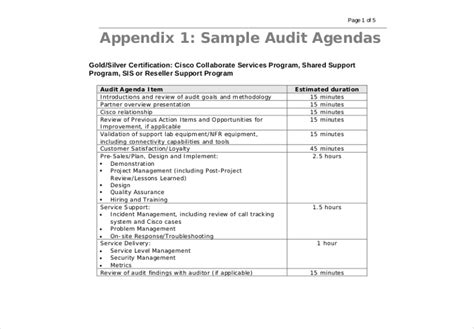 audit agenda template 28 images audit agenda template