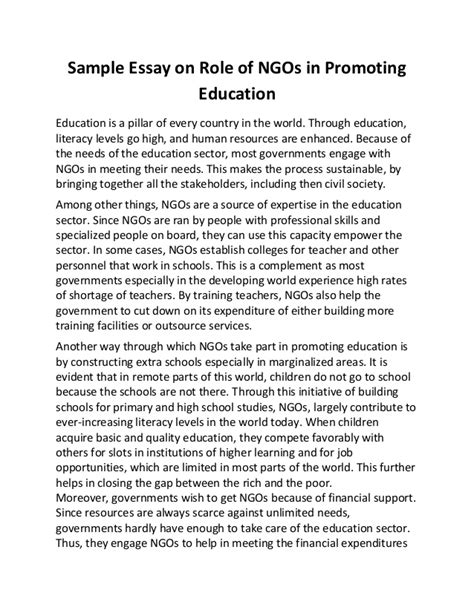 Narrative Essay On Education by Sle Essay On Of Ng Os In Promoting Education