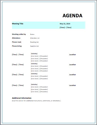 formal meeting agenda template free template downloads