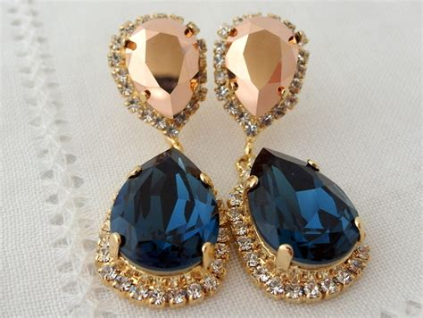 Navy Blue And Rose Gold Chandelier Earrings Drop Earrings Navy Blue Chandelier Earrings