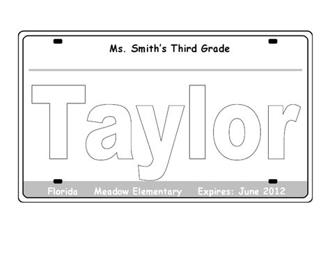 printable license plate template me and my third grade license plate glyph