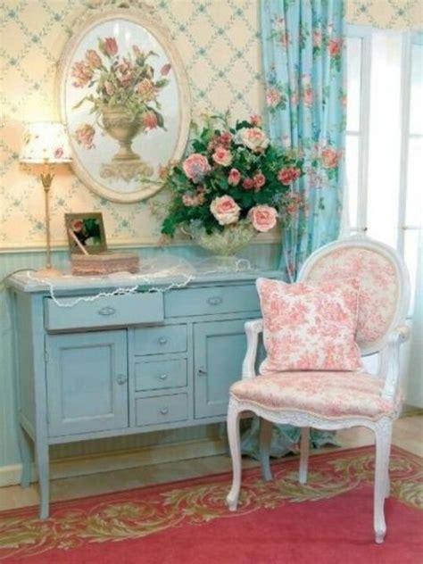 estilo shabby chic en rosa blanco y azul