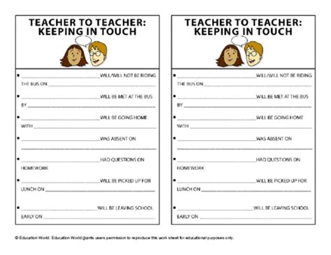 Teacher To Teacher Communication Template Education World Templates For Teachers