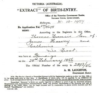 Full Birth Certificate Extract | birth certificate extract for thomas francis harvey