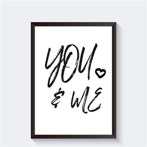 tekst poster zwart wit grafische interieurposter zwart wit met tekst you and me