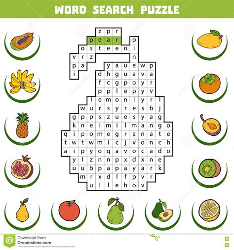 fruit 6 letters crossword vector color crossword about fruits word search puzzle