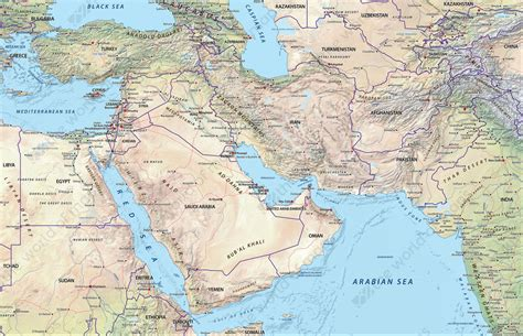 physical map of the middle east digital physical map middle east 634 the world of maps