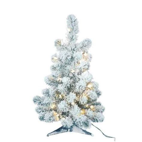 2 ft pre lit flocked table artificial tree with