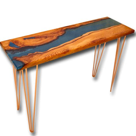 wood and resin table live edge yew wood blue resin river console table