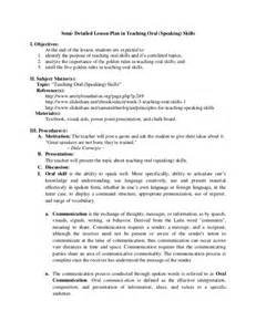 lesson plan in teaching oral skill