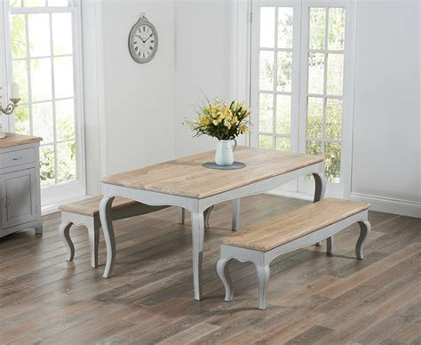 parisian 175cm grey shabby chic dining table with benches the great furniture trading company