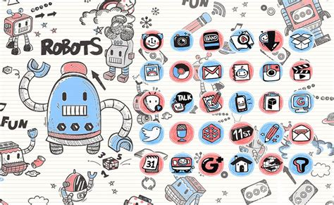 free doodle themes doodle robot launcher theme android apps on play