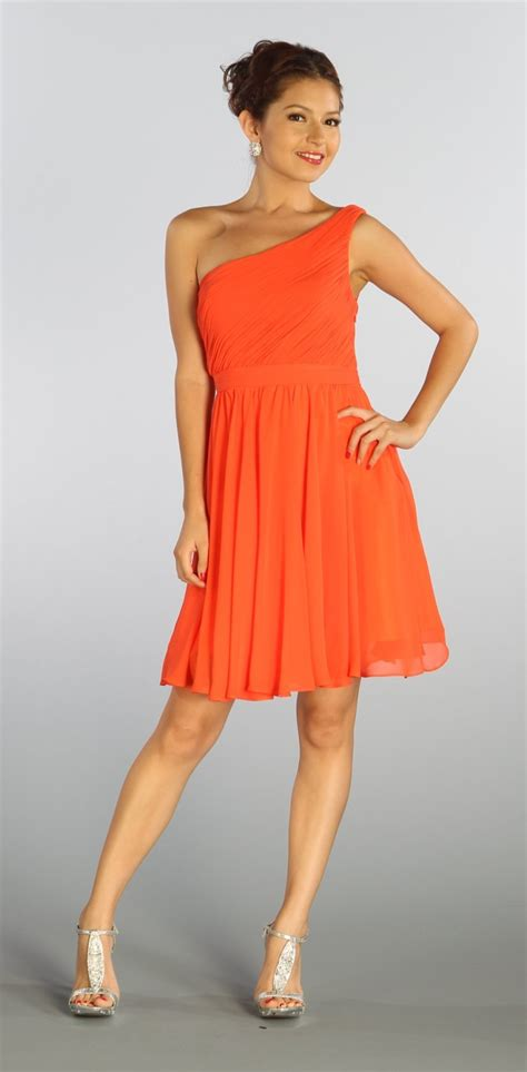 Orange Bridesmaid Dress by One Shoulder Chiffon Orange Coral Bridesmaid Dress